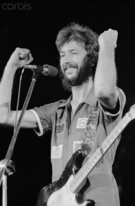 Eric Clapton Playing Electric Guitar During Concert