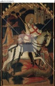 """ARTE GOTICO. ESPAÑA. FRANCESCH COMES (Actividad documentada entre 1379 y 1415). """"SAN JORGE"""". Tabla central de un gran retablo desaparecido. Se representa a San Jorge a caballo alaceando al dragón. Tamaño: 2, 324 m. alt. x 1,544 m. ancho. Procede del Co..."""