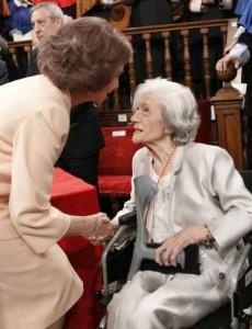 "Spain's Queen Sofia congratulates author Matute after she received the ""Premio Cervantes"" Literature Award in Alcala de Henares"