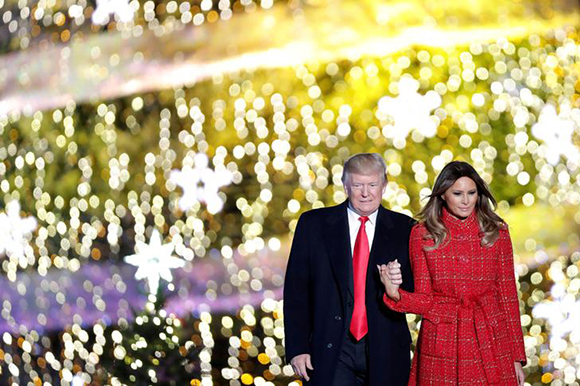 U.S. President Donald Trump and First Lady Melania Trump attend the National Christmas Tree Lighting and Pageant of Peace ceremony on the Ellipse near the White House in Washington, U.S., November 30, 2017. Photo by Carlos Barria