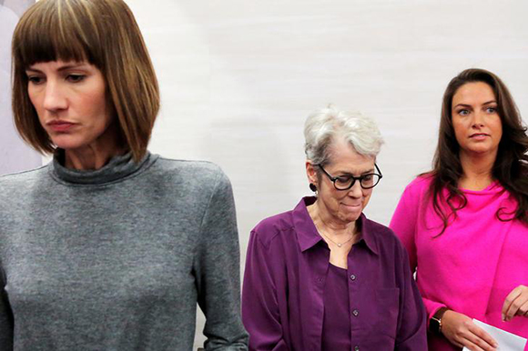 "(L-R) Rachel Crooks, a former receptionist in Trump Tower in 2005, Jessica Leeds and Samantha Holvey, a former Miss North Carolina, exit a news conference for the film ""16 Women and Donald Trump"" which focuses on women who have publicly accused President Trump of sexual misconduct, in Manhattan, New York, U.S., December 11, 2017. Photo by Andrew Kelly"