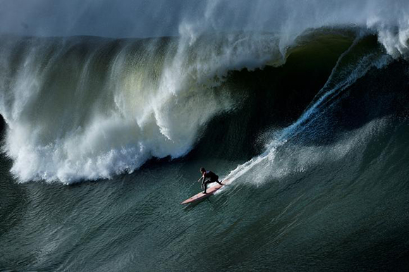 A surfer rides a wave during the Punta Galea Big Wave Challenge in Punta Galea, Getxo, near Bilbao, Spain, December 30, 2017. Photo by Vincent West